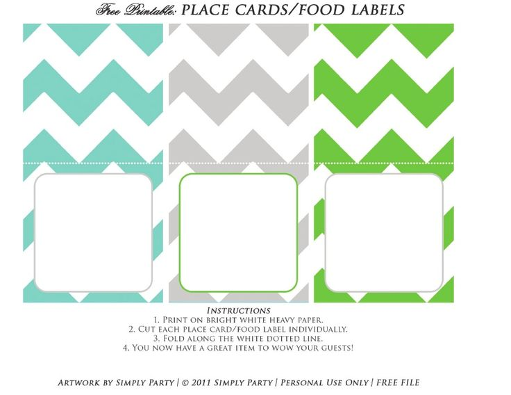 baby shower place cards template - free printable place card food label baby shower ideas