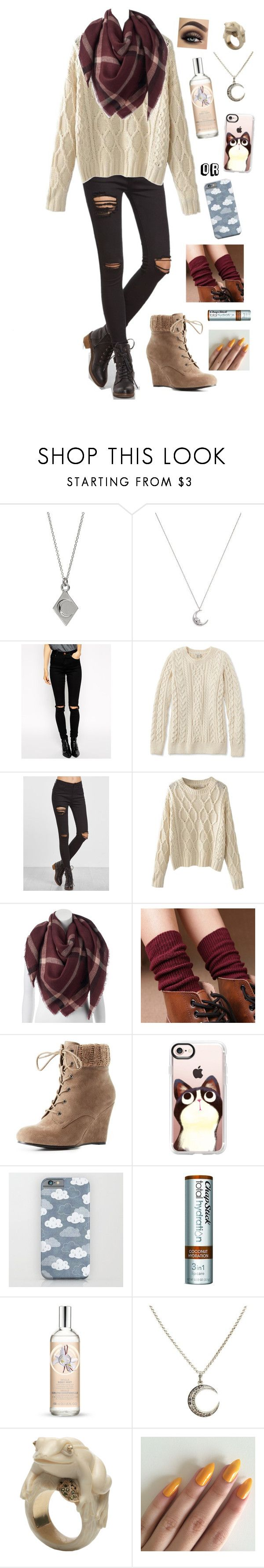 """""""No Title #209"""" by emily102901 ❤ liked on Polyvore featuring Estella Bartlett, ASOS, L.L.Bean, LC Lauren Conrad, Charlotte Russe, Casetify, Chapstick, The Body Shop and BIBI VAN DER VELDEN"""