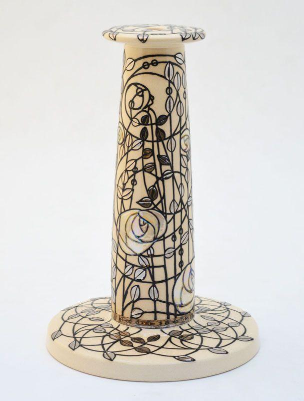 Dennis Chinaworks White Rose Lines Lamp – UK Art Pottery