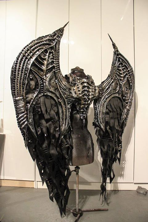 nivalvixen: Photo from The Fabulous Weird Trotter's Facebook page.…God is a revolutionary in the age of Victorian steel and steam work. His workers are loyal and wear wings to spread the word of their employer, and the fact that the wings allow them to actually fly is all the convincing most need. But Lucifer wants the fame and fortune for himself, so he constructs his own pair of wings, black instead of silver, rust-red tipped wings. God is reluctant, but lets Lucifer go. However, his ...