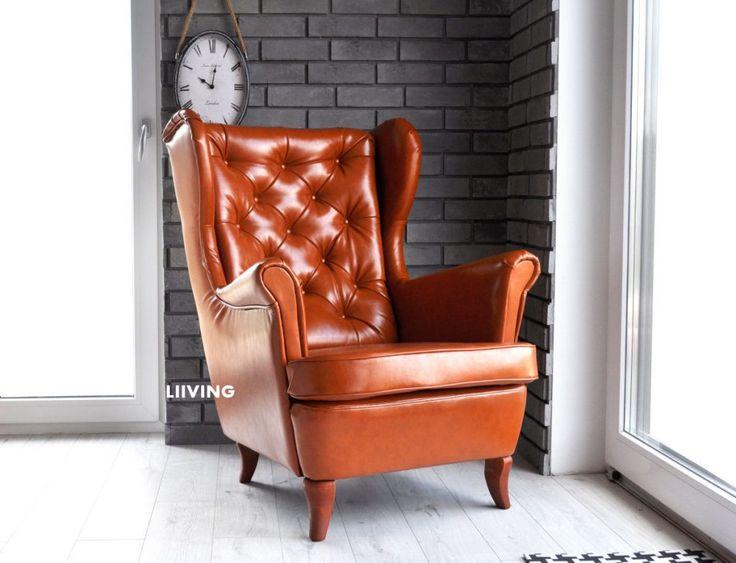 Fotel w eko skórze antycznej z pikowaniem na oparciu.Fotel bardzo piękny i wygodny jak prezydencki w gabinecie :)