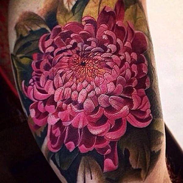 chrysanthemum tattoo | 49 Beautiful Chrysanthemum Tattoos With Special Meaning