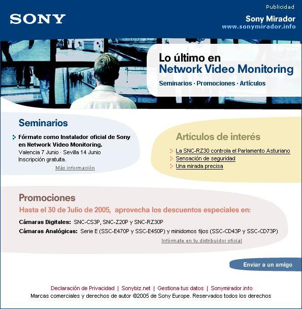 SONY · Sony Mirador · B2B newsletter · 2005