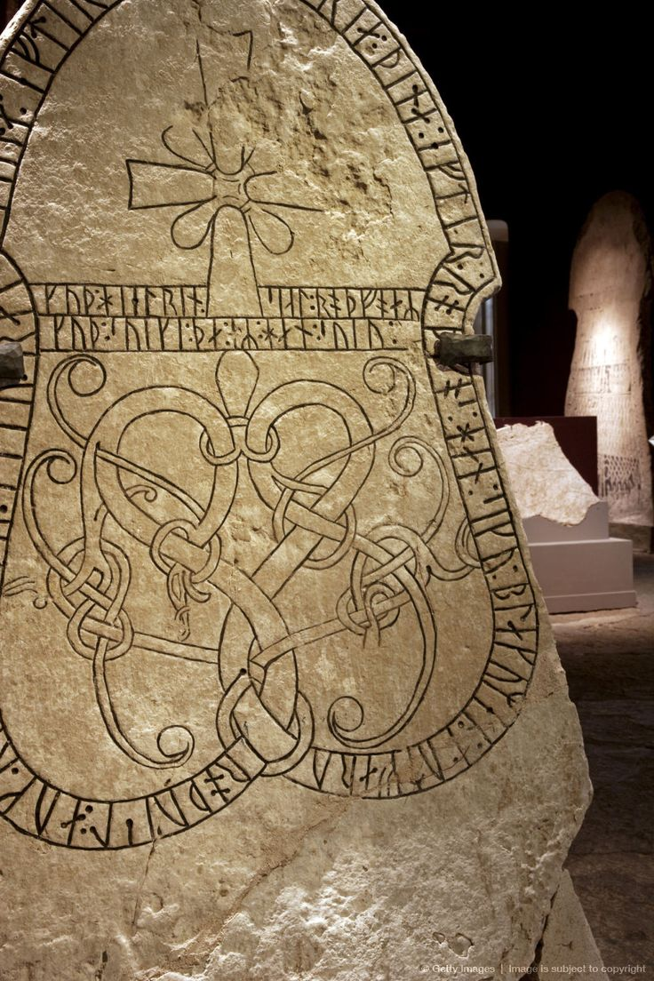Sweden, Island of Gotland, Visby. Detail from Viking carved rune stones in the Historical Museum of Gotland