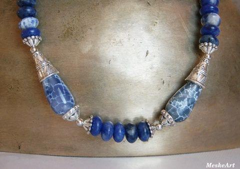 Szodalit - kék achát karkötő, nikkelmentes (MeskeArt) / Sodalite - Blue Agate Bracelet / Náramok Sodalit - Achát #szodalitasvanyekszerachattal #sodalitbraceletwithblueagate #naramoksodalitachat