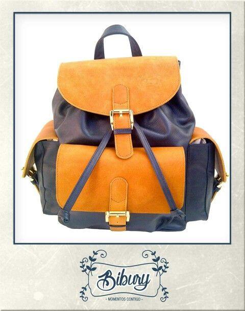Backpack combinación azul-miel!!!