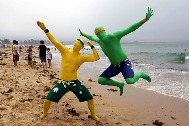 Morphsuits and boardshorts on the beach.  What better way to spend Australia Day!