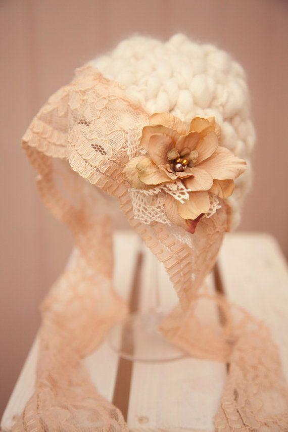 OOAK  Cream Hand Knit Baby Hat With Cream Flower  Newborn by AnnWo, £30.00