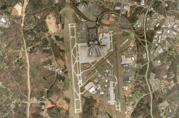 Satellite view of Charlotte-Douglas International Airport (civil-military) - Charlotte, North Carolina, USA