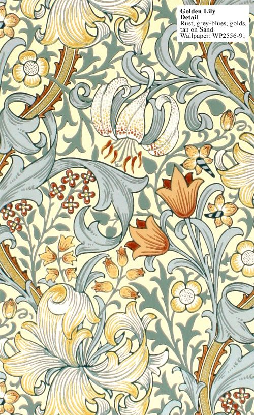 William Morris, 1899, Golden Lily Wallpaper                                                                                                                                                                                 More