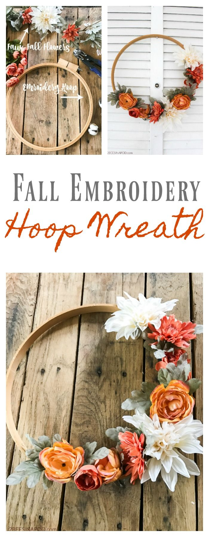 Fall Embroidery Hoop wreath – easy to make fall wreath for the front door. #2bee…