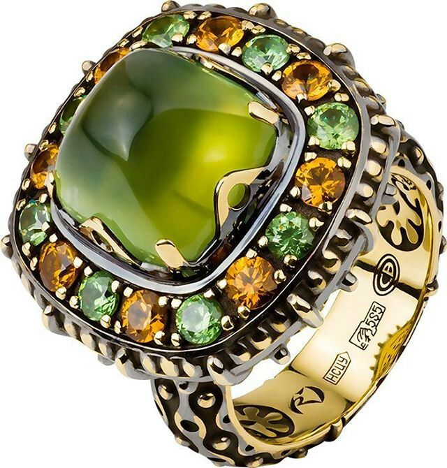At @uvgost. Peridot & multi-colored stone, gorgeous by itself.
