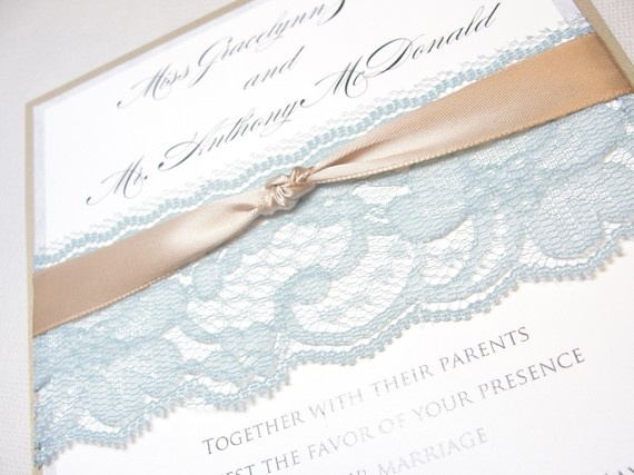 GIA Real Lace Wedding Invitation With Knot 63750 Via Etsy