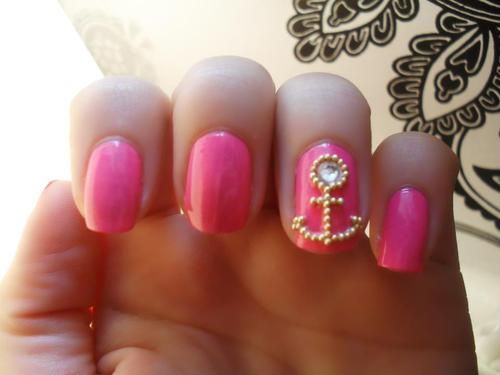 Pink with an accent anchor.