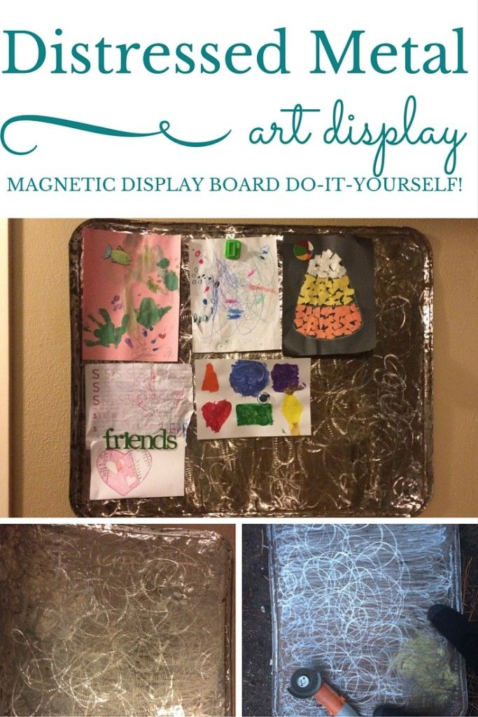 Distressed Metal: A Magnetic Children's Art Display Board - A Domestic Wildflower