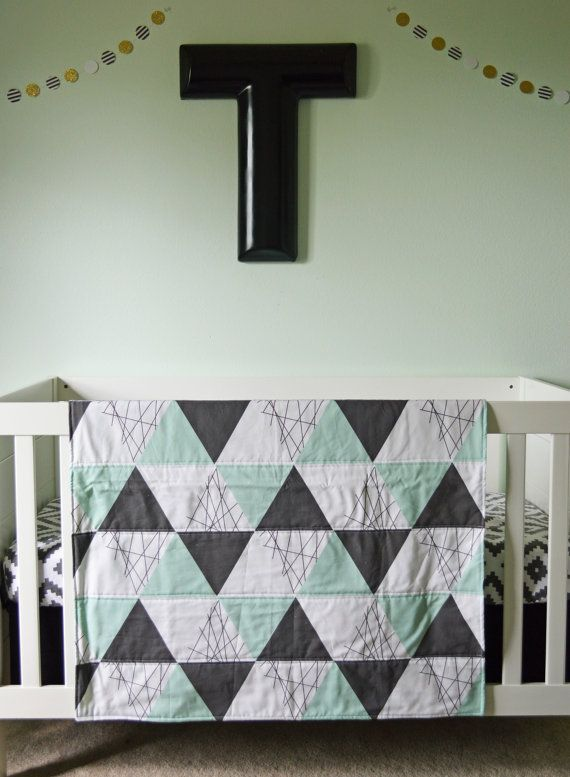 Crib Blanket Mint White Black Triangle Quilt Triangle by ModFox