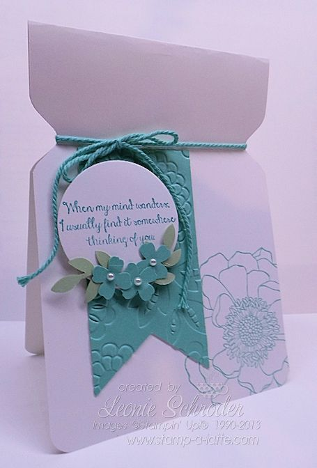 Stampin' Up! 'Jar' Bloom. Awesome card using the Envelope PUnch Board cased from @dostamping Quick and Easy and loving that new embossing folder! #stampinup #envelopepunchboard #blendedbloom