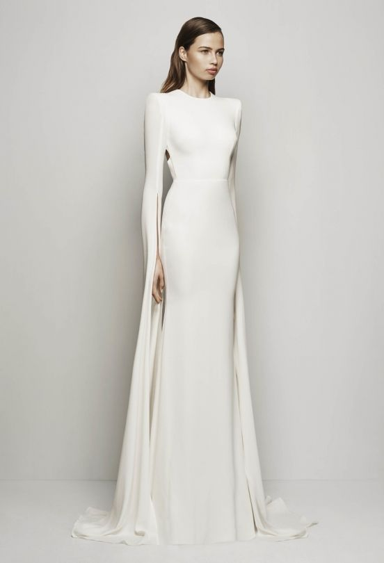 Sophisticated Saint Bridal Dress | Wedding. I could do without the shoulder pads, but I love the sleeves