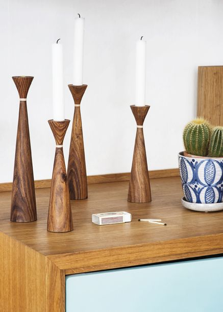 Lydia candleholders in North Indian teak wood