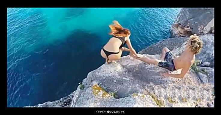 This Guy's Reaction When His Girlfriend Falls Off A Cliff Is Horrible
