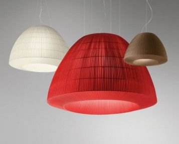 Lighting Pendant - Bell. Suspension, ceiling and wall lamp collection consisting of a metal structure covered with stripes of extra smooth flame retardant fabric, available in 10 colours