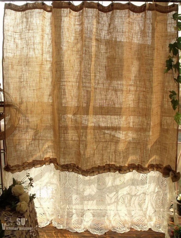 """80""""x72""""  SHABBY Rustic Chic Burlap SHOWER Curtain Ivory Lace Ruffles FLOWER BOW #handmade #FrenchCountry"""