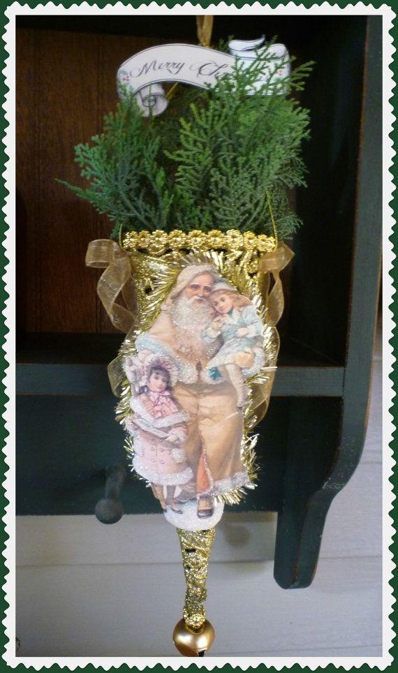 Victorian Santa and Children Golden Christmas Cone