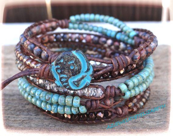 Leather Seed Bead Wrap Bracelet Boho by AZJEWELRYBYELIZABETH