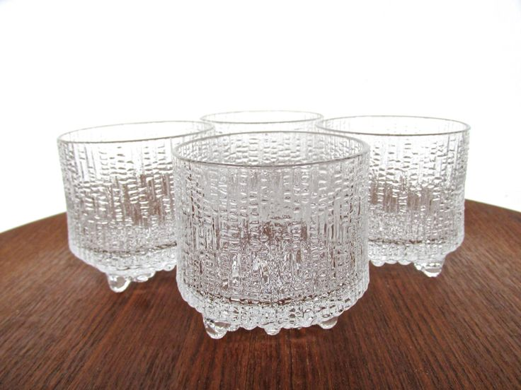 Set Of 4 Iittala Ultima Thule Footed Bar Glasses, Tapio Wirkkala Small Cocktail Glasses, Scandinavian Textured Icy Glass Barware by HerVintageCrush on Etsy