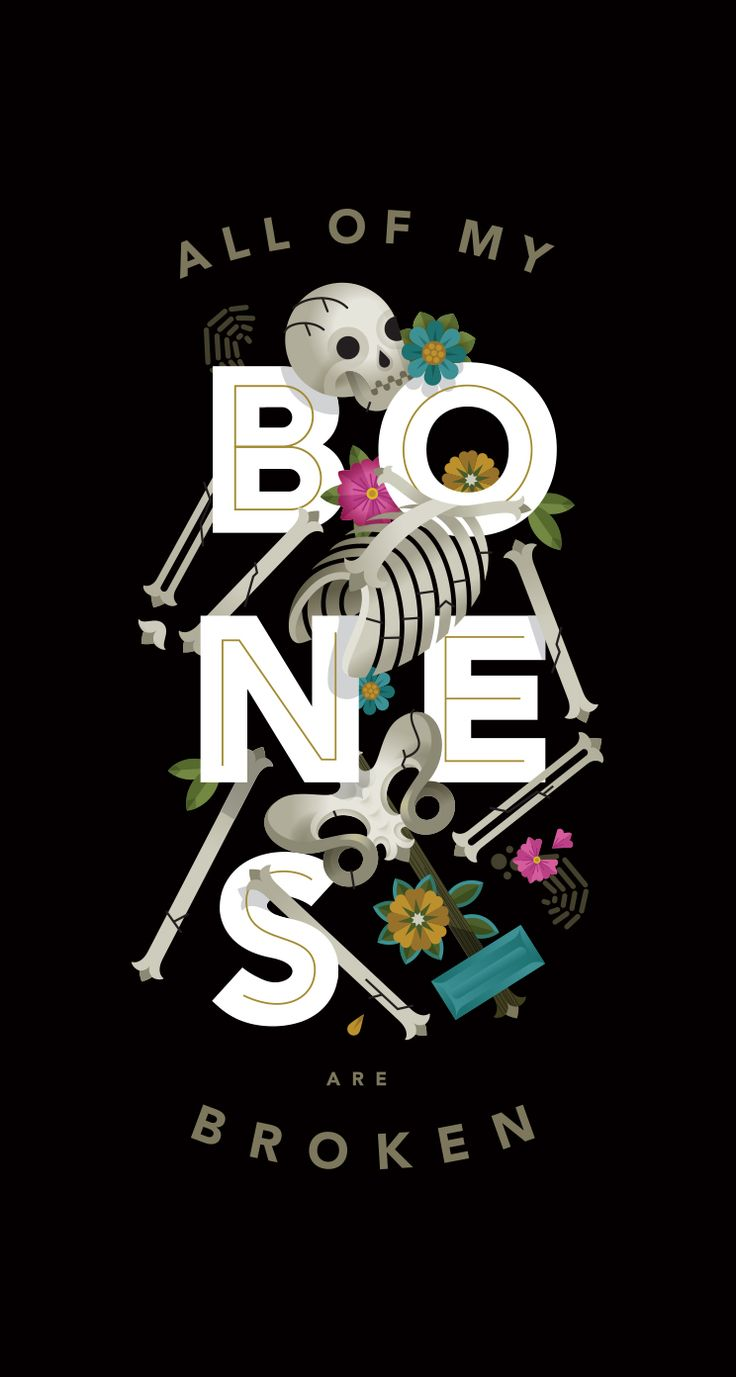 Bones graphic floral Halloween iphone wallpaper phone background lock screen