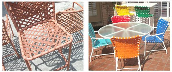 Residential or Retail Powder Coating and Outdoor Patio Furniture restoration in Texas Oklahoma and Louisiana. Custom cushions, slings, new strappings, welding repairs, glass table top replacements and metal frame refinishing.