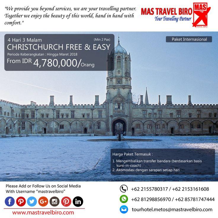 Paket tour ke CHRISTCHURCH FREE & EASY 4 Hari 3 Malam, mulai dari harga Rp 4.780.000/Pax. Pesan sekarang di MAS Travel Biro   (Harga tidak termasuk tiket pesawat)   #mastravelbiro #promotravel #travelagent #tourtravel #tourtravelmurah #travelservices #tiketpesawat #travelindonesia #opentrip #familytour