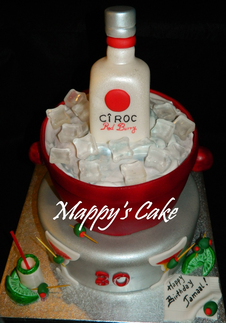 Ciroc Red Berry Vodka Cake Male Tortas Y Botellas