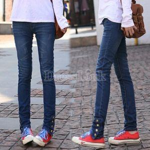 Women's Stylish Slim Fit Skinny Pencil Pants Denim Jeans Trousers Light Blue