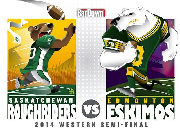 #EPoole88 (Eric Poole) is at it again, this time with the CFL. Here is his rendition of the Western Division semifinal matchup between Saskatchewan and Edmonton.