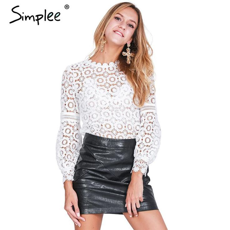 Simplee Elegant floral lace blouse shirt Women lantern sleeve white blouse 2016 Autumn winter hollow out short top blouse blusas-in Blouses & Shirts from Women's Clothing & Accessories on Aliexpress.com | Alibaba Group