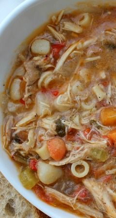 Authentic Sicilian Chicken Soup Recipe ~ with a peppery broth, fresh vegetables and tender most chicken