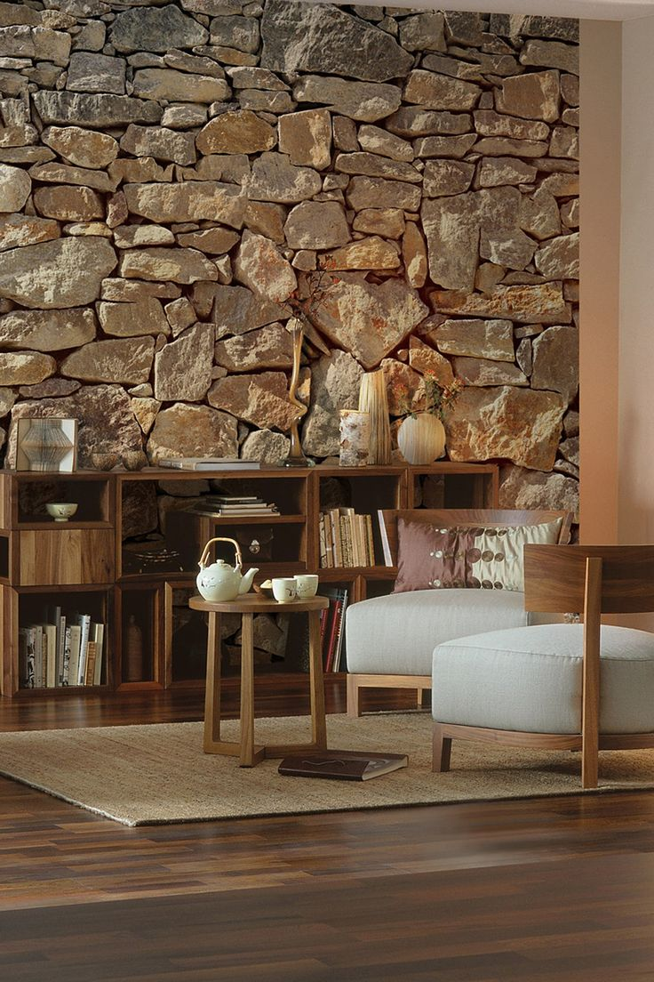stone wall mural. now that's an accent wall