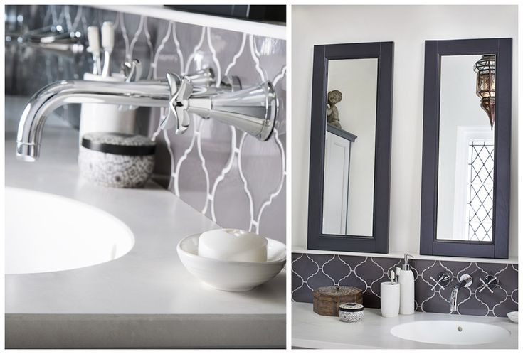 Salino wall mounted taps and framed mirrors in contrasting London Grey finish from the Roseberry palette #Roseberry #paintedtimber #bathroomfurniture #myutopia