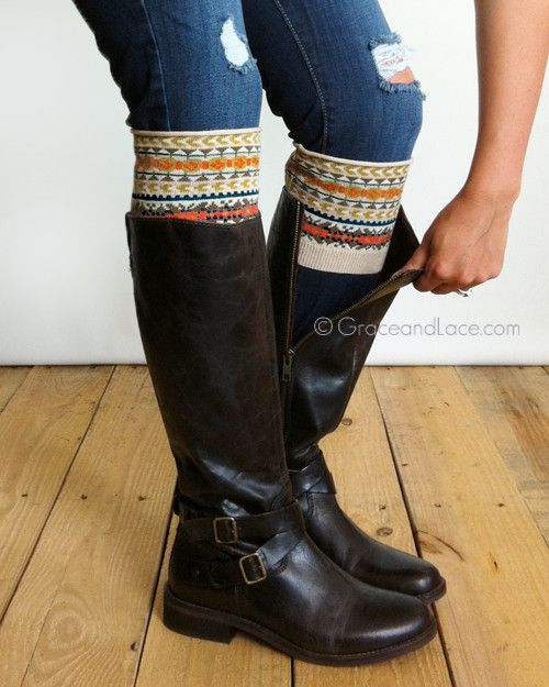 Grace And Lace Patterned Boot Cuff - Fair Isle