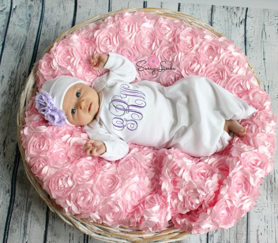 Monogram Baby Girl Take Home Outfit Personalized by sassylocks