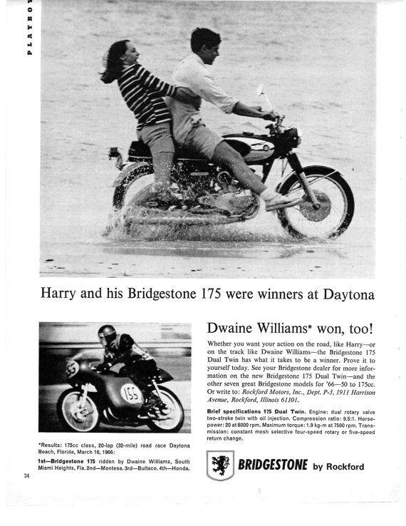années 1960 vintage original Bridgestone moto magazine annonce la 175 a été un gagnant à Daytona