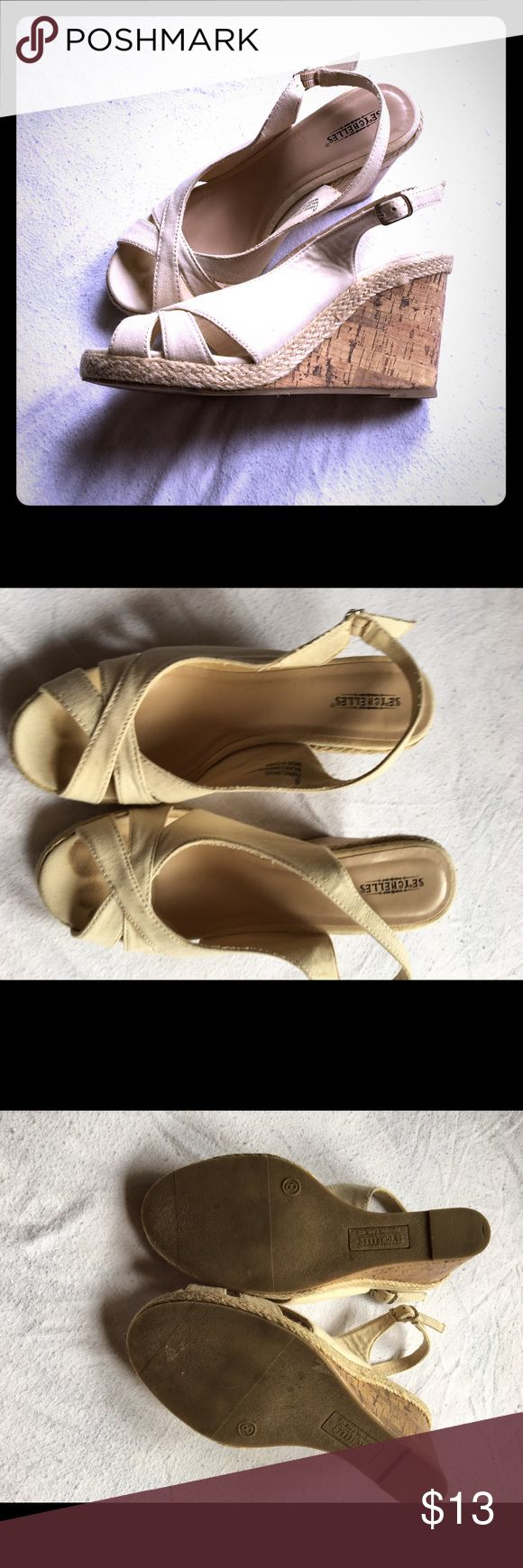 3k sale! Seychelles cream wedges Worn a handful of times. These are a very light color so do show any marks easily (hence the toe mark) and so they do also show a light mark on the side of the shoe. Notice the soles have little wear. So much life left. Seychelles Shoes Wedges