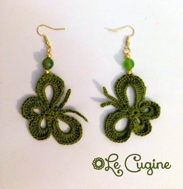 #creazioni #fattoamano #handmade #orecchini #uncinetto#pietre #farfalle
