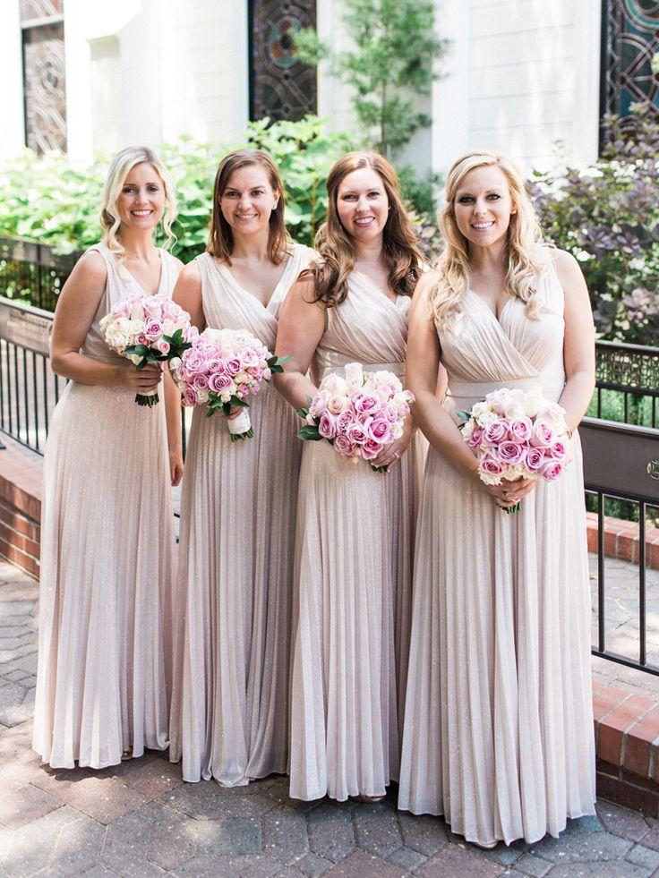 Fairy Tale Palo Alto Wedding at the Four Seasons Silicon Valley, CA  Classic, elegant nude bridesmaid dresses!  Photographer- Apollo Fotografie