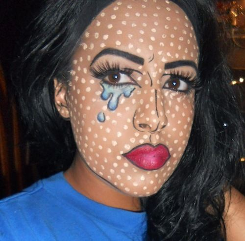 This is exactly what I am doing for Halloween, but red dots, b/c white will not show up good on my skin tone! :)