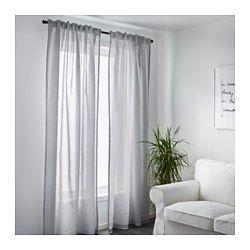 IKEA - GULSPORRE, Cortinados, 1 par, , Os cortinados deixam passar a luz, mas reduzem a entrada de luz solar direta.Os cortinados podem ser usados num varão ou calha para cortinados.Pode pendurar os cortinados num varão através das presilhas ocultas ou com argolas e ganchos.A fita para franzir ajuda a criar pregas, usando os ganchos para cortinado RIKTIG.