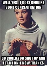 audrey hepburn knitting - caption | Meme Generator