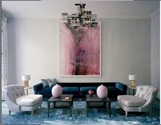 A perfect blue velvet sofa in a David Collins designed London apartment.