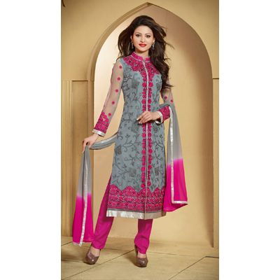 Shoponbit Grey Georgette Semi Stitched Anarkali Suit